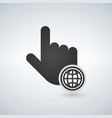 hand mouse cursor with globe icon in the circle vector image
