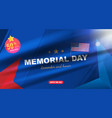 happy memorial day greeting card with usa flag on vector image vector image
