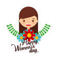 happy womens day design with cute vector image