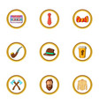 hipster element icon set cartoon style vector image