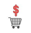 icon concept shopping cart with dollar arrow vector image vector image