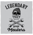 legendary garage masters poster vector image vector image