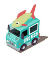 live fish machine icon isometric style vector image vector image