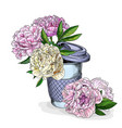 lush peonies in a coffee cup hand drawn vector image