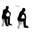 man in Sitting pose on white background vector image vector image