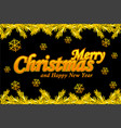 merry christmas greeting card golden logo snow vector image
