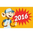 New Year text and monkey classic pop art design vector image vector image
