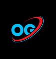 og o g letter logo design initial letter og vector image vector image