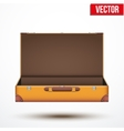 Open Vintage leather travel Suitcase vector image