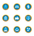 operating time icons set flat style vector image vector image