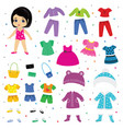 paper doll dress up or clothing beautiful vector image vector image