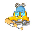 playing baseball character clockwork car for toy vector image