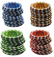 Poker chips column set isolated on white vector image vector image