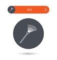 Rake icon Gardening equipment sign vector image