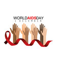 red ribbon and hands up to prevention aids vector image