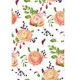 seamless floral pattern of pink rose ranunculus vector image vector image