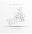 thumb up digitally drawn low poly wire frame on vector image vector image