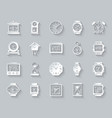 watch simple paper cut icons set vector image