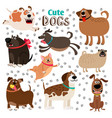collection of cute cartoon dogs vector image