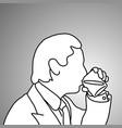 close-up businessman drinking alcoholic beverage vector image