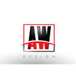 aw a w logo letters with red and black colors and vector image