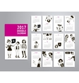 Calendar 2017 with doodle women vector image vector image