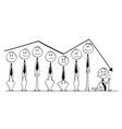 cartoon of group of businessmen rising up and vector image