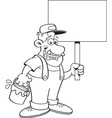 Cartoon painter holding a sign vector image vector image