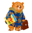 cute animated brown bear holding in its paws a vector image vector image