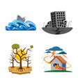 design of natural and disaster sign set of vector image vector image