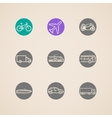 flat icons with different modes of transport vector image vector image