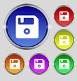 floppy icon sign Round symbol on bright colourful vector image vector image