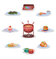 french cuisine set macaroon cookies escargot vector image