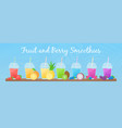 fruit smoothie shake cocktail set menu template vector image vector image