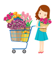 Girl and shopping cart full of flowers vector image