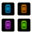 glowing neon smartphone with bluetooth symbol vector image vector image