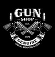 gun shop emblem with crossed guns on black vector image vector image