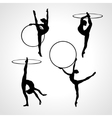 Gymnastic girls with hoops silhouettes collection vector image vector image