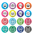 Halloween scary ghost spirit flat design icons vector image
