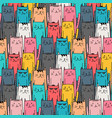 hand drawn cute cat pattern vector image