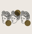 hand drawn flat antique head apollo vector image vector image