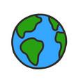 hand drawn globe cartoon earth planet doodle vector image