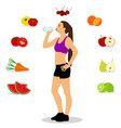 healthy lifestyle the girl drinks water thin vector image