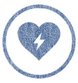 heart power rounded fabric textured icon vector image vector image
