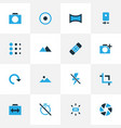 image icons colored set with panorama rotate vector image