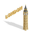 isometric highly detailed big ben tower on white vector image vector image