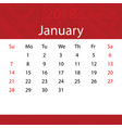 january 2018 calendar popular red premium for vector image vector image