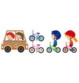 kids playing with toy car and bike vector image