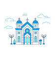 line art house christian church in greece with vector image