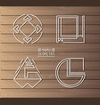 minimal geometric template with wooden background vector image vector image